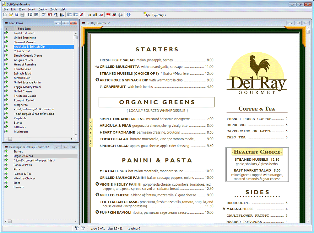 Drag & Drop to create menus, 1-click menu design, highlight foods with boxes, add your own logo, customize any design element.