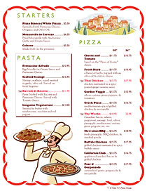 Italian themed pizza and pasta menu with Ai Menu Graphics art.