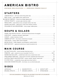American Bistro menu based of the world's most famous font - Helvetica.