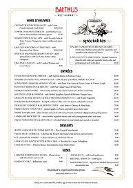 New York upscale menu with Ai Menu Vignettes art.