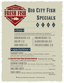 Specials menu for Big City Fish featuring growing indents and Fresh Fish wax seal.