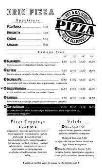 8.5 x 14 black and white pizza menu with Pizza seal.