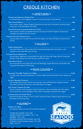 11 x 17 Louisiana Cajun menu, inverted with a Fresh Seafood stamp.