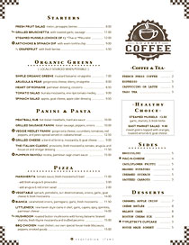 Friendly cafe breakfast/lunch menu with Gourmet Coffee stamp.