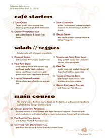 American Bistro Menu with deco typeface and watermarks.