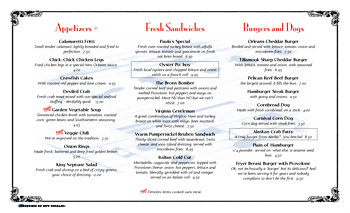 14 x 8.5 menu using watermark and Mona Lisa typeface.