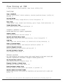 Menu that appears to be created on an old IBM Selectic model typewriter.