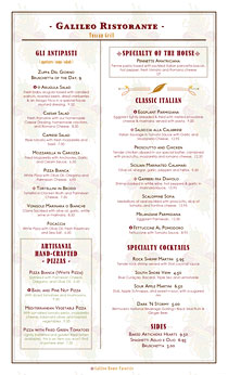 Upscale Italian Grill menu with boxes and highlights for high-profit menu items.