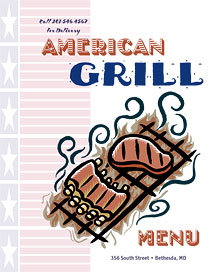 BBQ grill menu cover featuring art from Ai Menu Graphics.