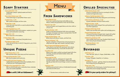 Not so scary 11 x 17 October Halloween menu with Creepy typeface.