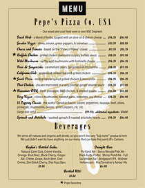 Pizza menu featuring a solid color background plus a watermark Pizza stamp.