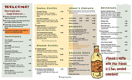 Portuguese chicken menu with rustic, hand-drawn art from Ai Menu Vignettes.