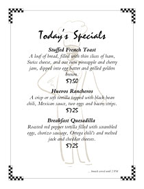 Classic daily specials menu with chef watermark and handwriting font for prices.