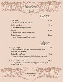 Organic Specials Menu with hand-drawn art and Nouveau fonts.