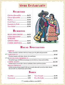 Mexican menu using Bandolera for the title with art from Ai Menu Graphics.
