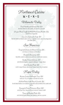 Formal dining menu with tree watermark and handwriting fonts.