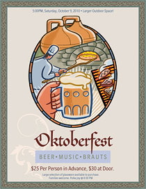 Fall beerfest flyer with art from Ai Menu Graphics.