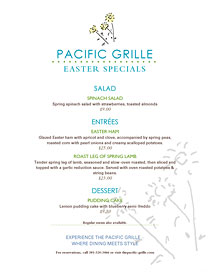 Easter specials menu with art from Ai Menu Vignettes.