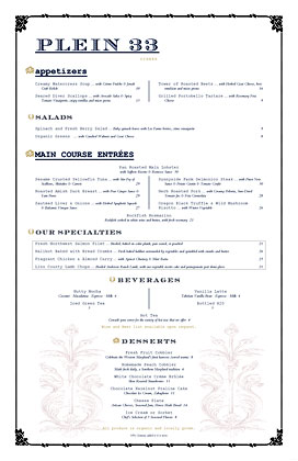Upscale NYC menu mixing regal fonts with medieval symbolism and typewriter text.