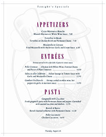 Country club specials menu with chef watermark.