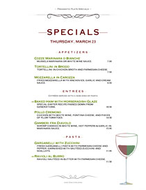 Nightly specials menu suitable for fine dining.