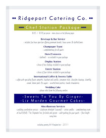 Modern catering proposal and menu choices.