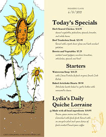 Cafe daily specials menu with handwriting font and art from Ai Menu Vignettes.