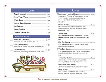 Sushi Menu with Ai Menu Graphics art and inverted box menu headings.