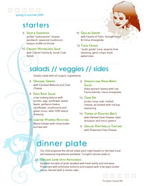 Hipster, urban chic menu with trendy colors and sections that indent more as the menu progresses.