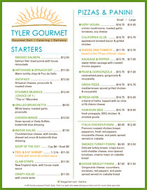 Modern urban gourmet menu with highlighted menu items and sun art.