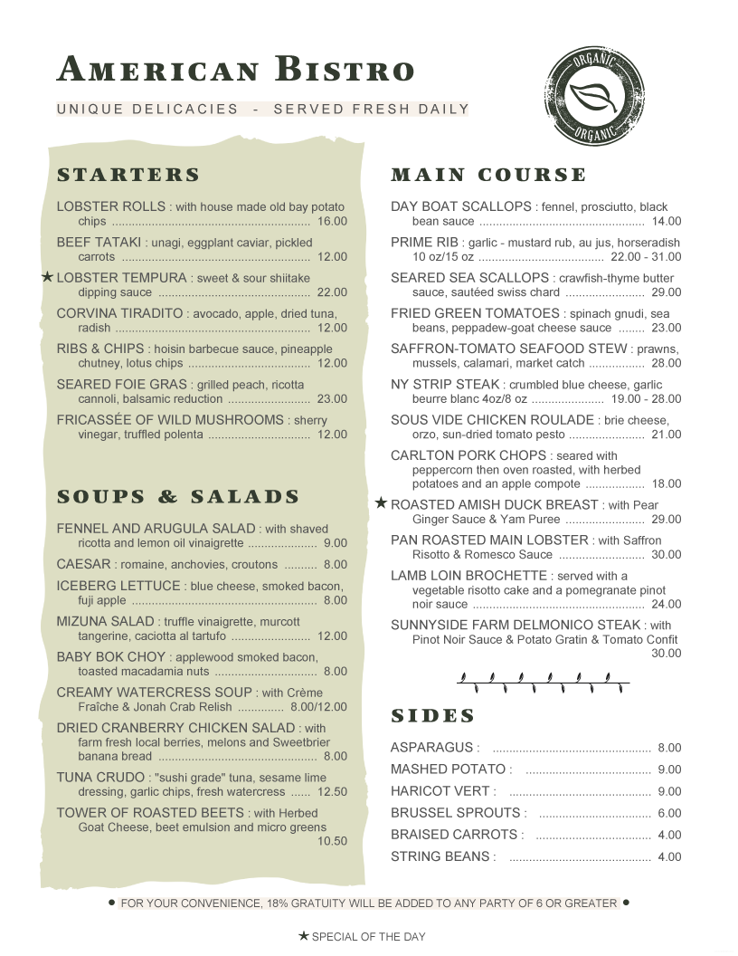 Menupro menu design samples from menupro menu software for American bistro cuisine