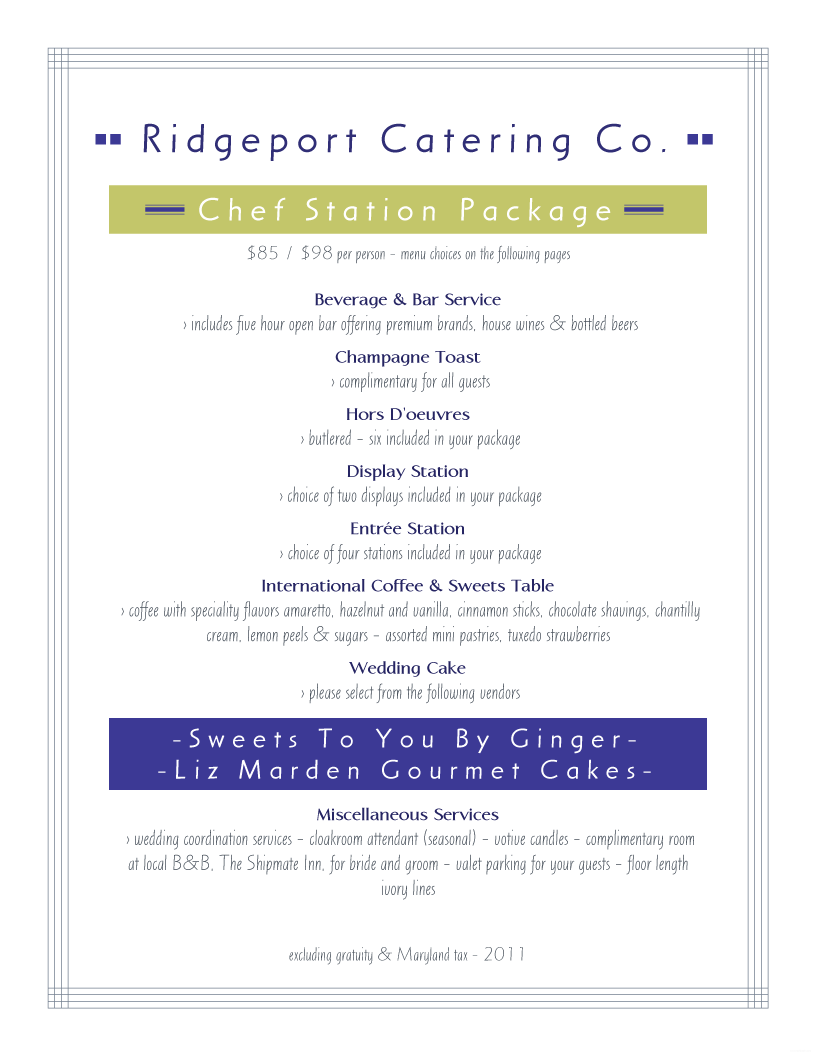 Menu Example. Ridgeport Catering  Catering Menu Template Free