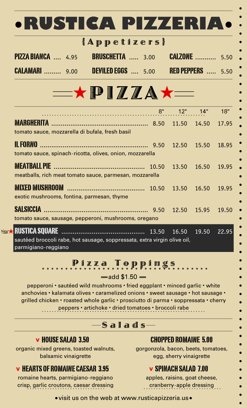 Menu Example. Rustica Pizzeria