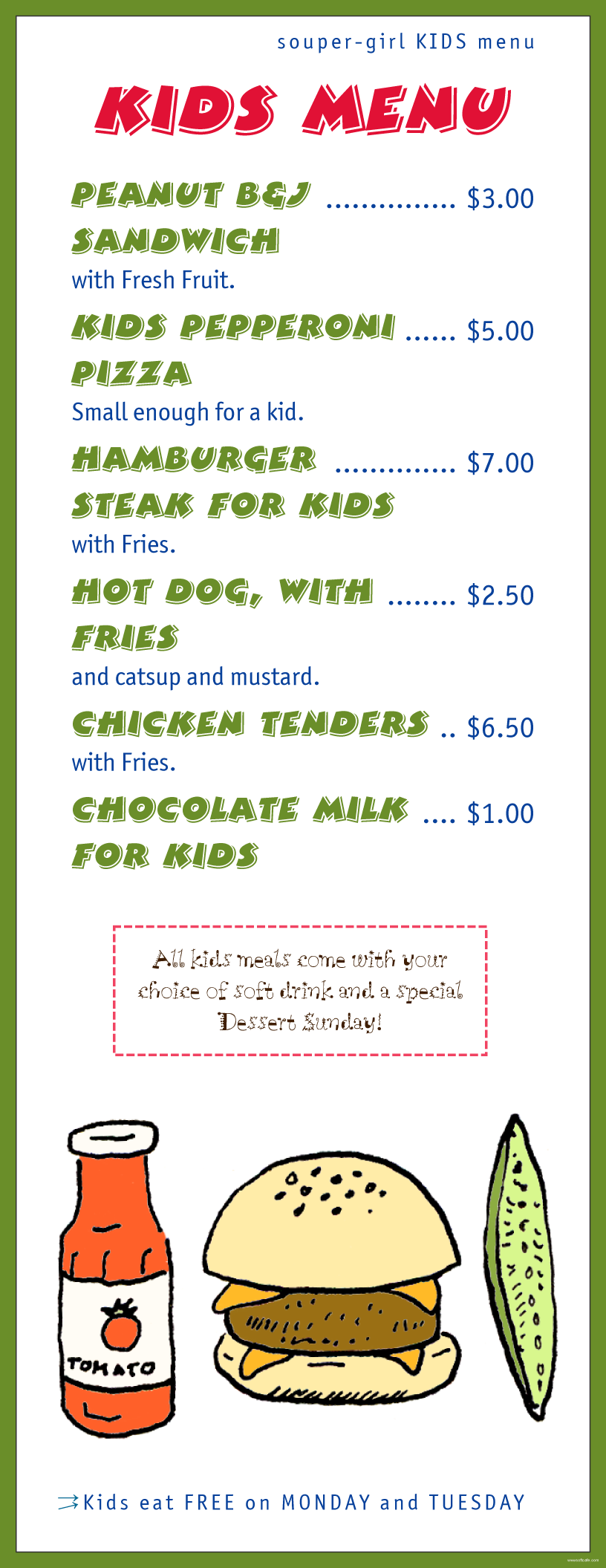 Menu Example. Super Girl Kids  Kids Menu Templates