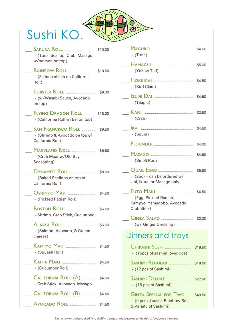 Menupro menu design samples from menupro menu software more menu example sushi ko pronofoot35fo Gallery