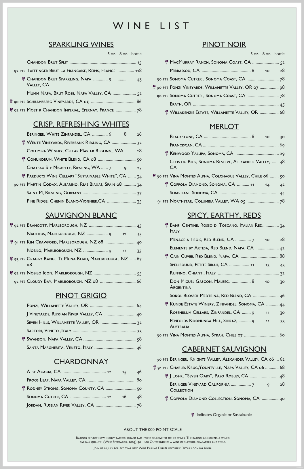 Wine List Template  Free Wine List Template