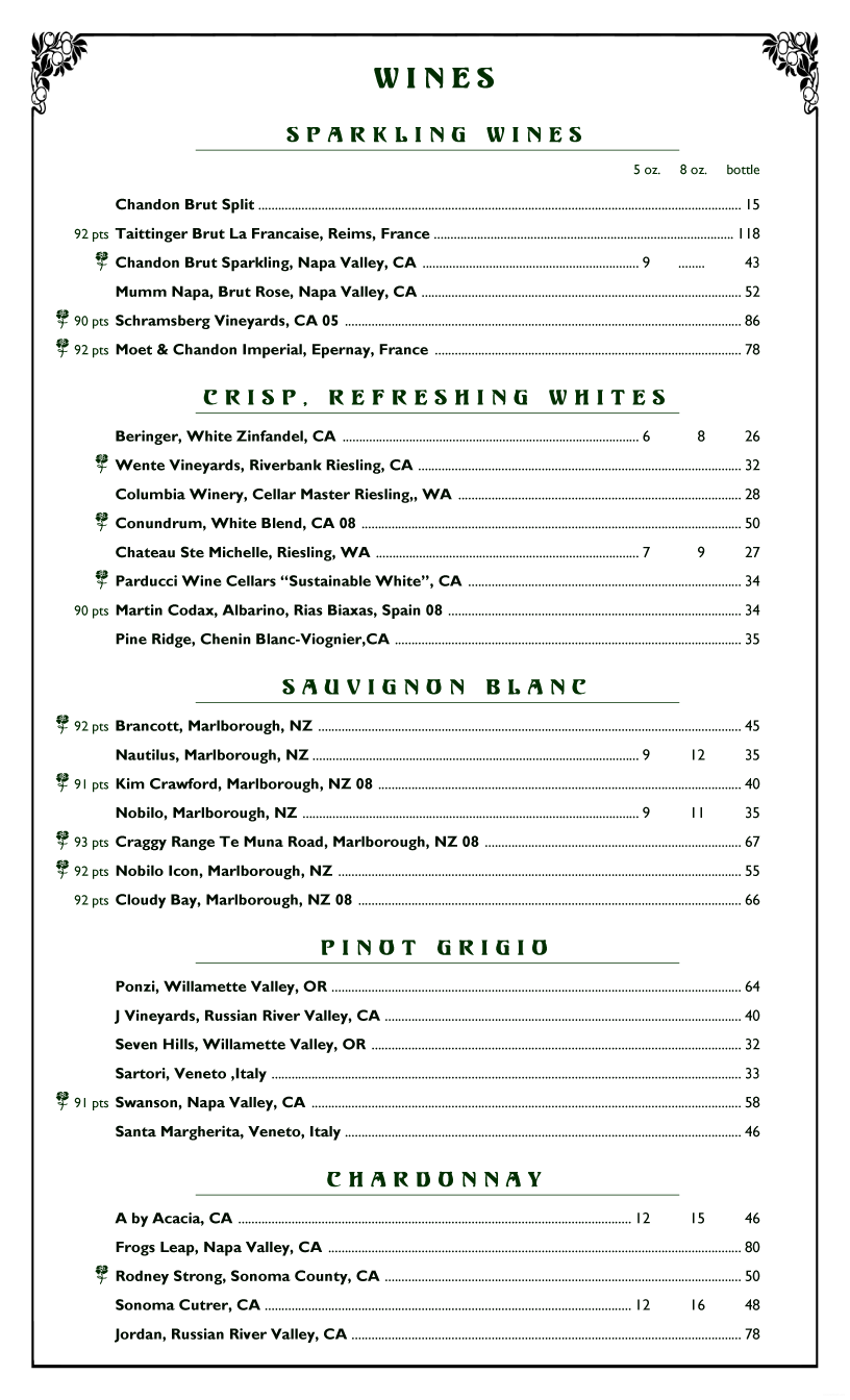 restaurant wine list template