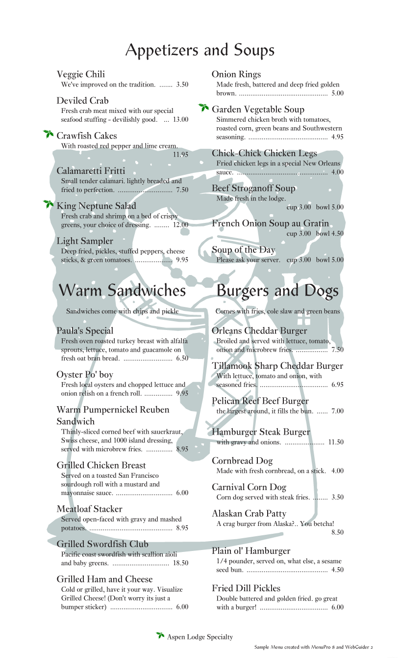 menupro · menu design samples from menupro menu software more winter menu